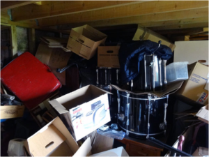 unclean attic with junk